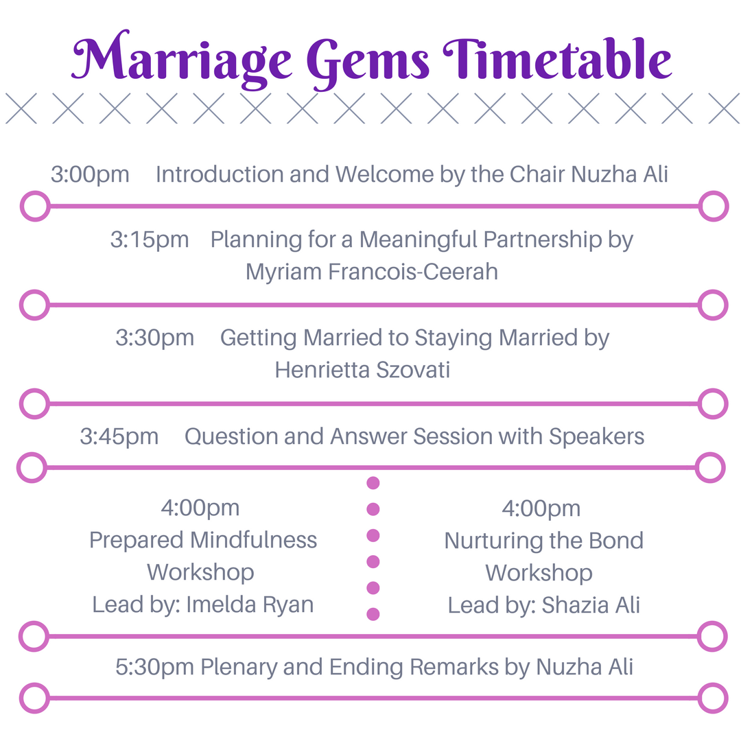 Marriage Gems Timetable
